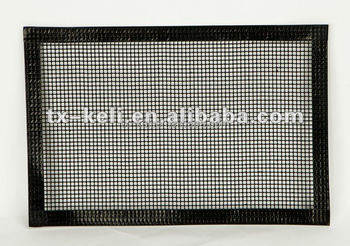 Overlock non-stick bbq mesh liner ptfe coated mesh sheet with protective edge