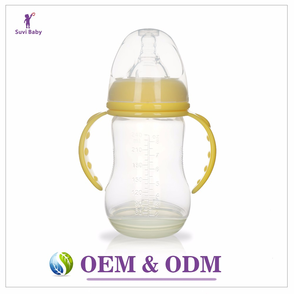 Wholesale baby product oem 240ml pink wide neck bpa free plastic pp feeding baby milk nursing bottle with fda
