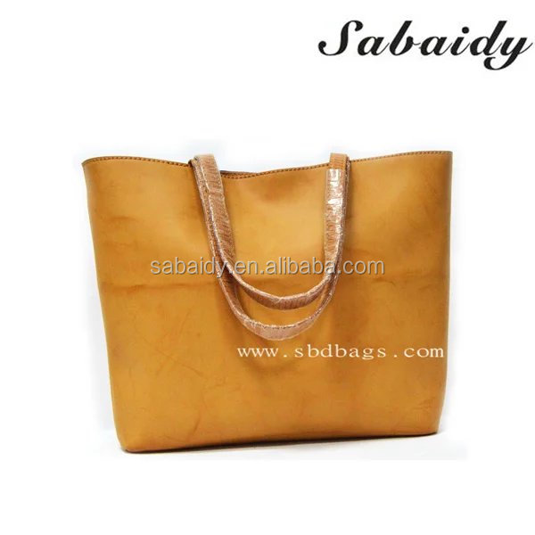 Yellow leather contrast bule canvas handbag for woman wiht high quality