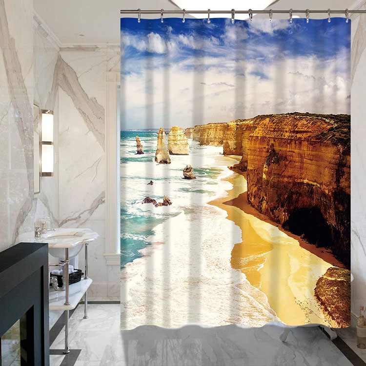 Waterproof Polyester Fiber Summer Beach View Digital Printing Hook Window Door Shower Curtain