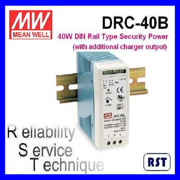 Meanwell DRC-40B 40W 27.6V 0.95A Single Output with Battery Charger (UPS Function) DIN Rail Power Supply