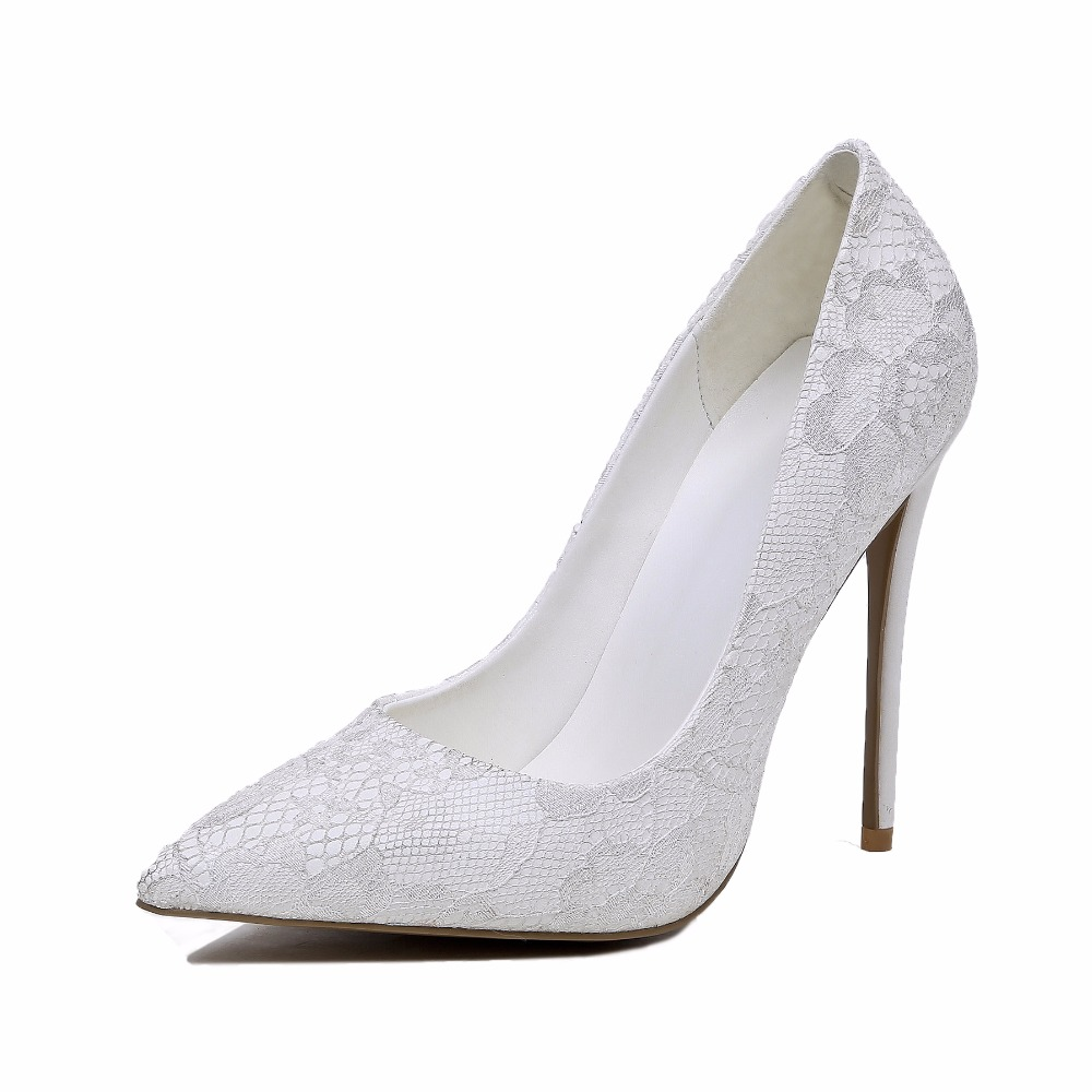 China High heels Sexy Women Dress Shoes White Pumps Ladies White Lace bridal Wedding Shoes