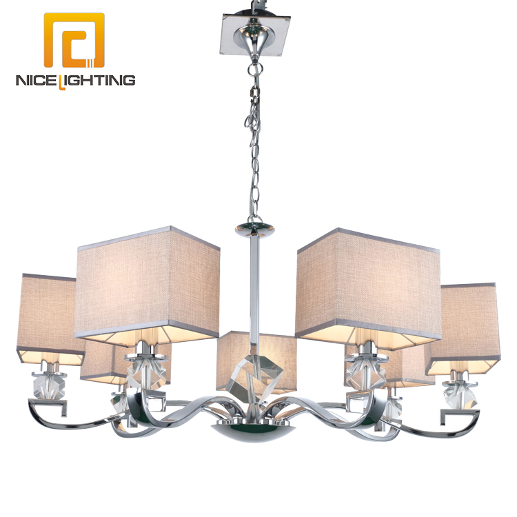 latest design clear crystal pendant square shade series large chandelier for living room decoration