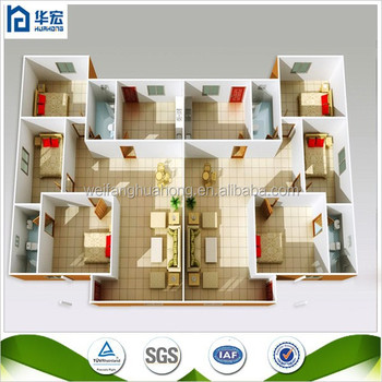 New technology economic well designed light steel 4 bedroom house floor plans