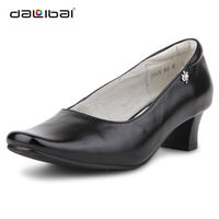 Black leather women high heel casual shoes,square toe italian ladies shoes