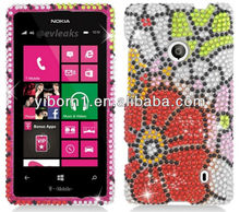 Flower Green Red Full Diamond Jeweled Cell Phone Cases for Nokia Lumia 521