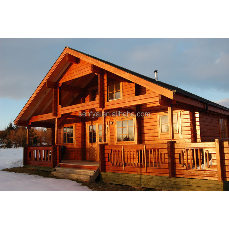 Log home manufacturer of wood house villa of 4 bedroom prefab homes