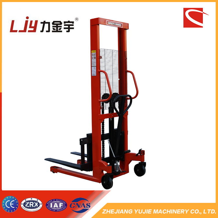 high quality 2 ton 1.6m hand pallet truck manual hydraulic stacker