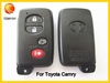 replacement flip black color remote control 3+1button car smart key cover for toyota camry smart key shell