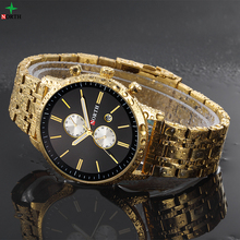 Specialized design for business men japan mov't stainless steel gold watch