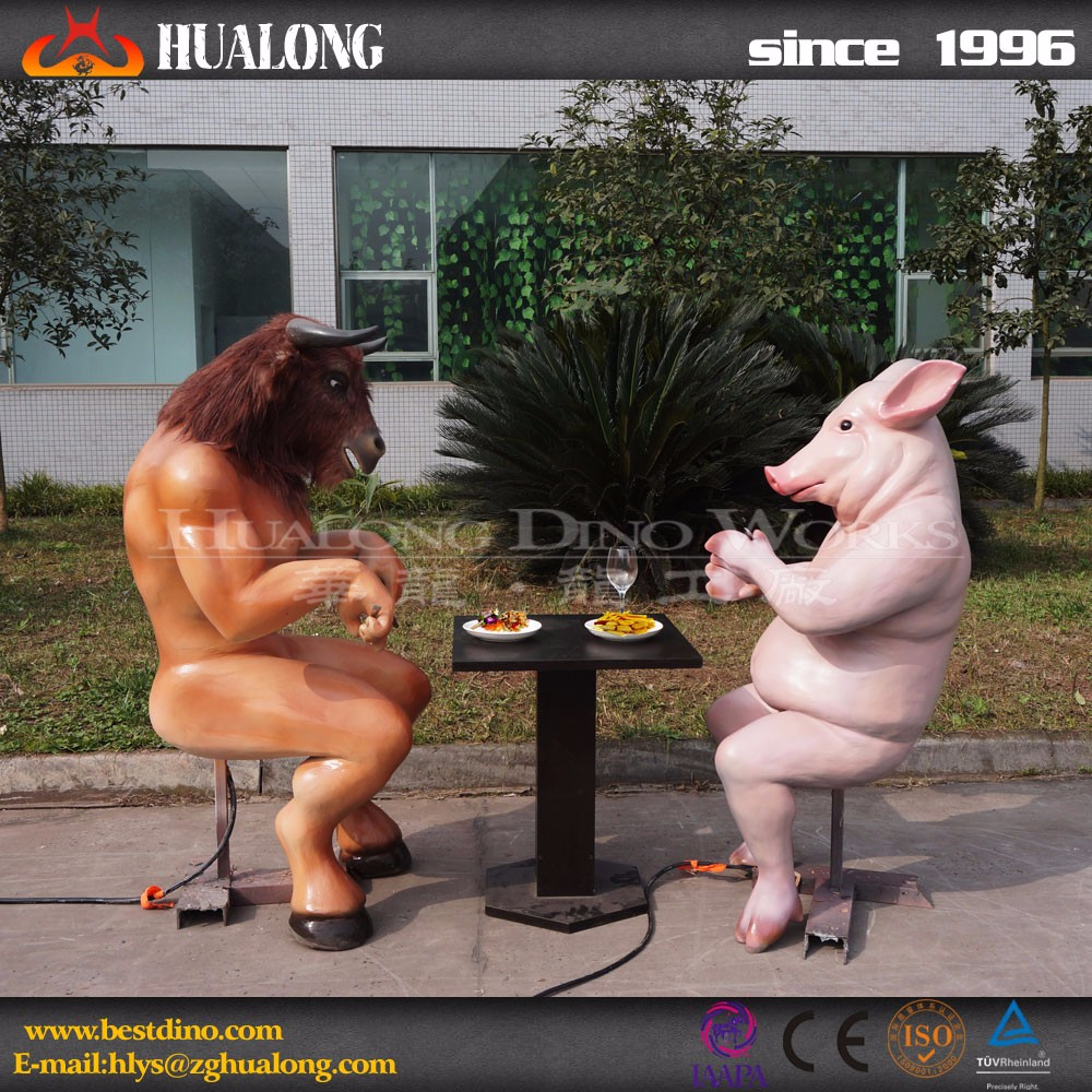 Outdoor Funny Artificial Cartoon Animal Sculpture for Sale