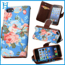 flower painting leather mobile phone cases for iphone 5 5s