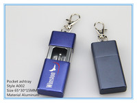 Metal portable pocket ashtray with key chain