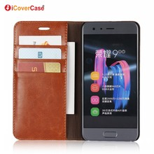 Factory Wholesale Business Luxury Pouch Stand Flip Cover Wallet Genuine Leather Case for Huawei Honor 9 with Card Holder
