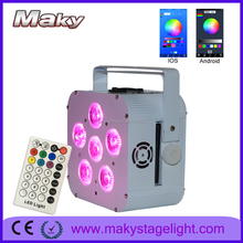 guangzhou wedding lighting 6*18W RGBWA UV Par LED Wireless white/black case with wifi control by mobile phone