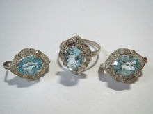 Wholesale 925 silver Blue topaz Ring and Earring Set