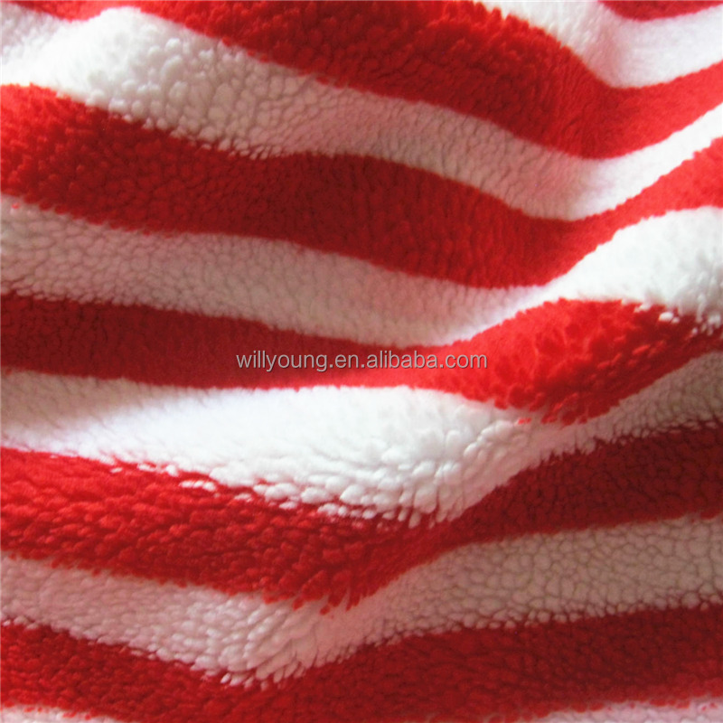 Red and white stripes lamb fur 100% polyester print fur design SHEAPA artificial lamb wool velboa for garment lining cushion