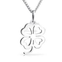 925 sterling silver four leaf clover heart pendant necklace