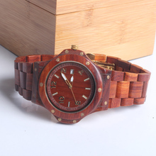 Mens Violet/Teak Wooden Watch Analog Display Date Men's Watch
