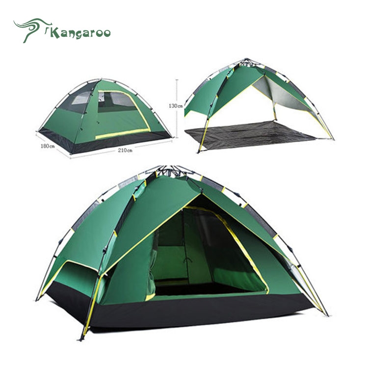 4 persons outdoor used two layer connectable waterproof tents camping