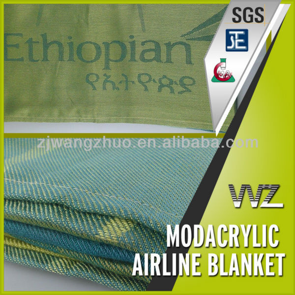 Jacquard woven airplane blanket Modacrylic flame retardant airline blanket for Ethiopian