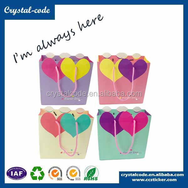 Custom cute cosmetic lined paper bags for kids