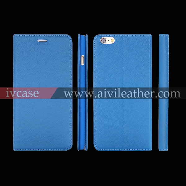 For blue genuine leather iphone 6 plus case with stand mobile covers