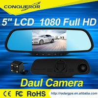 "HD 5"" LCD Dual Lens TWO video inputs car dvr rearview mirror"