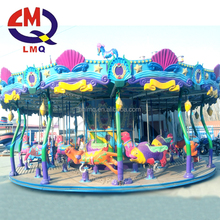 Outdoor kiddie ride 3 seats horse carousel coin operated fairground rides small carousel for sale