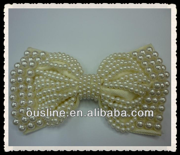 handmade sew pearl fabric bow, pearl and rhinestone embellishment