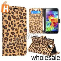 New Arrival Wallet Style Leopard Pattern Magnetic Stand Mobile Phone Leather Case for Samsung Galaxy for S5 i9600 With Card Slot