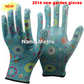 NMSAFETY EN388 13 gauge nylon or polyester liner coated flower print PU gardening work gloves