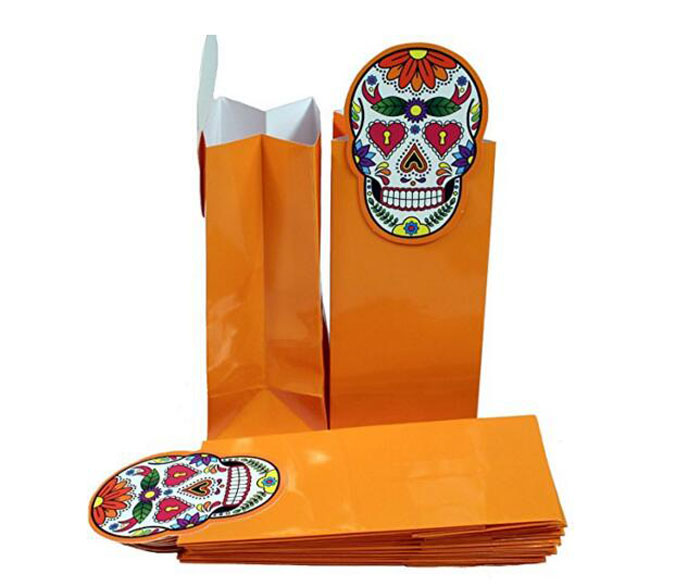 Halloween bakery paper bags/bread /cookie/sugar/goodies packaging bags with glossy coated paper and skull shapes
