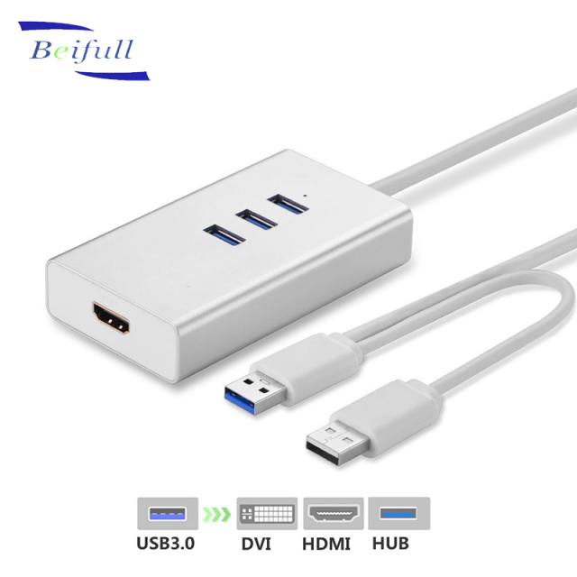 3 ports USB 3.0 hub to hd mi DVI External Video Card Graphic Adapter for Multiple Monitors up to 2048x1152