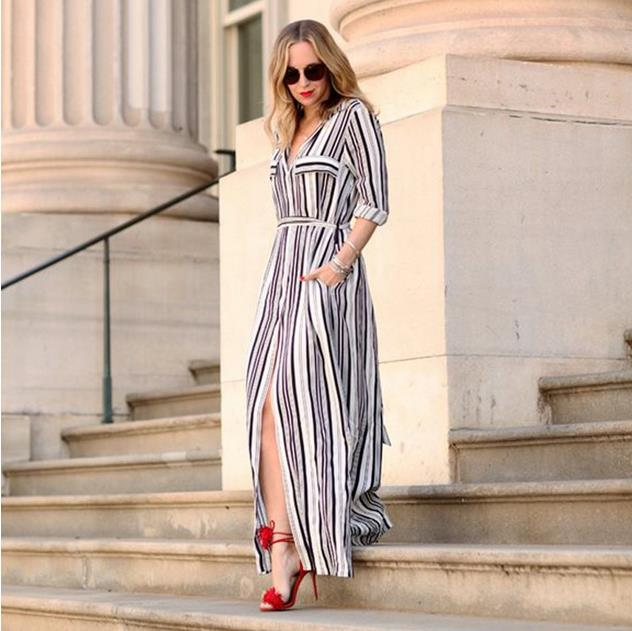 Summer chiffon women dress with pocket striped long sleeve maxi dress for ladies