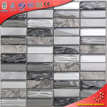 HYC17 Gray New Mosaic TIle Design Glass Mix Metal/Marble Interior Wall Tiles