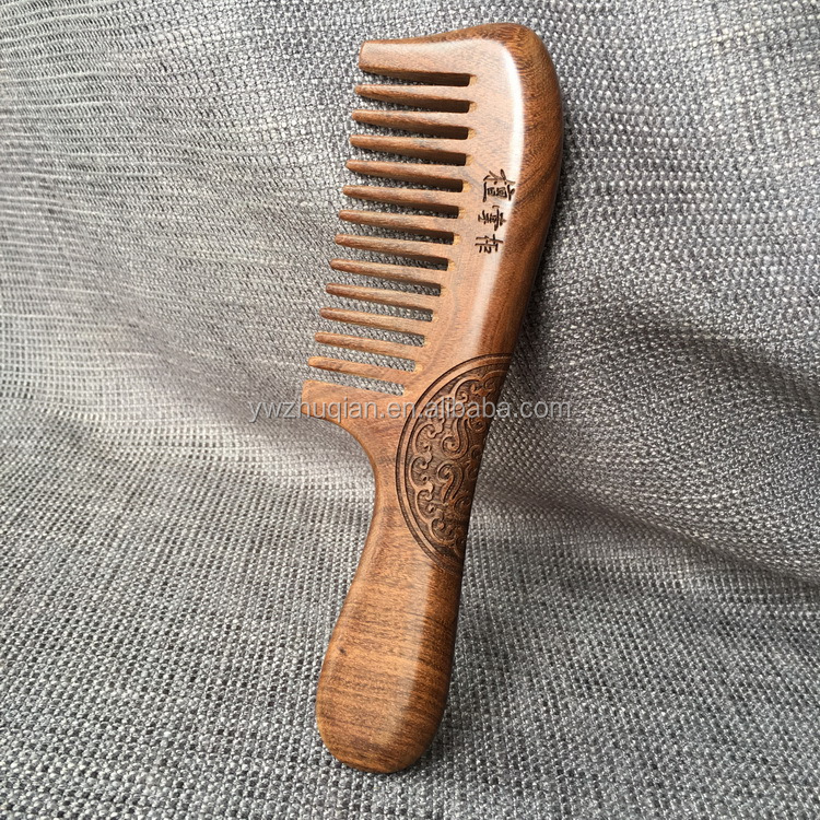 Custom logo wooden hair wide tooth comb with beautiful flower
