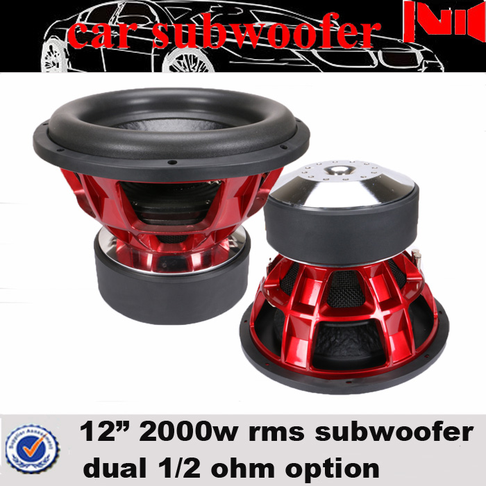 JLD audio DC 12V car subwoofer speaker with aluminium basket dual 1 ohm 2000w rms used car subwoofer