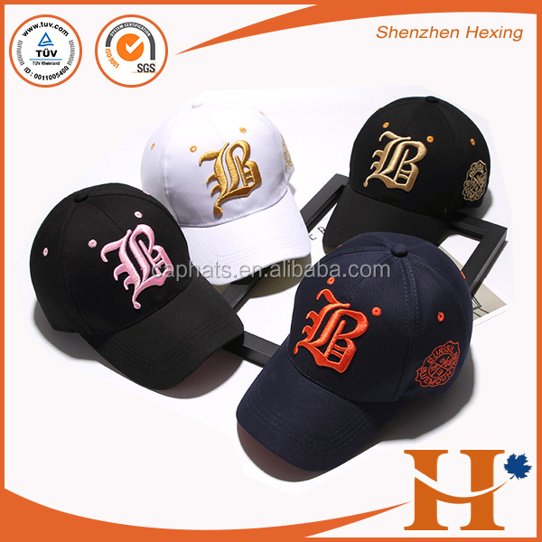 2017 New Curve Brim Soft Textile Gold Thread Baseball Cap 3D Embroidered Cap And Hat