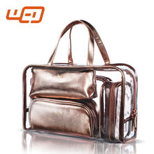 2017 New style cheap travel bag organizer one set lighting case with stand plain toiletry makeup bag