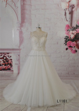 Crystals and beads decaration sleeveless ball gown tulle bridal wedding dress