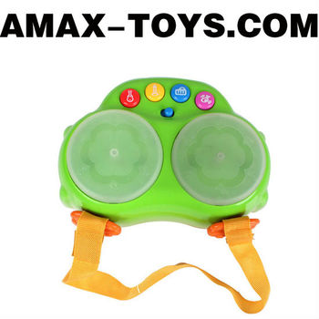 bte-44091033 children toys drums multifunctional cartoon twin hand-held drums with music and light