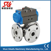 Flange pneumatic stainless steel 3way ball valve with best price