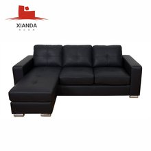 High quality modern small leather l shaped corner sofa