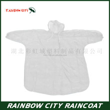 Waterproof hooded rain poncho raincoat with drawstring plastic emergency poncho withhood