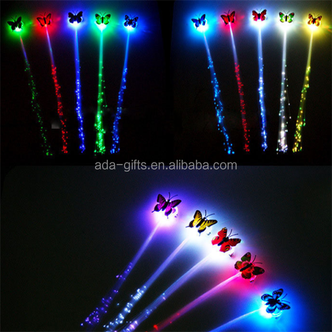 popular butterfly fiber opetic hair clip party favor led fhashing hair braid accessories