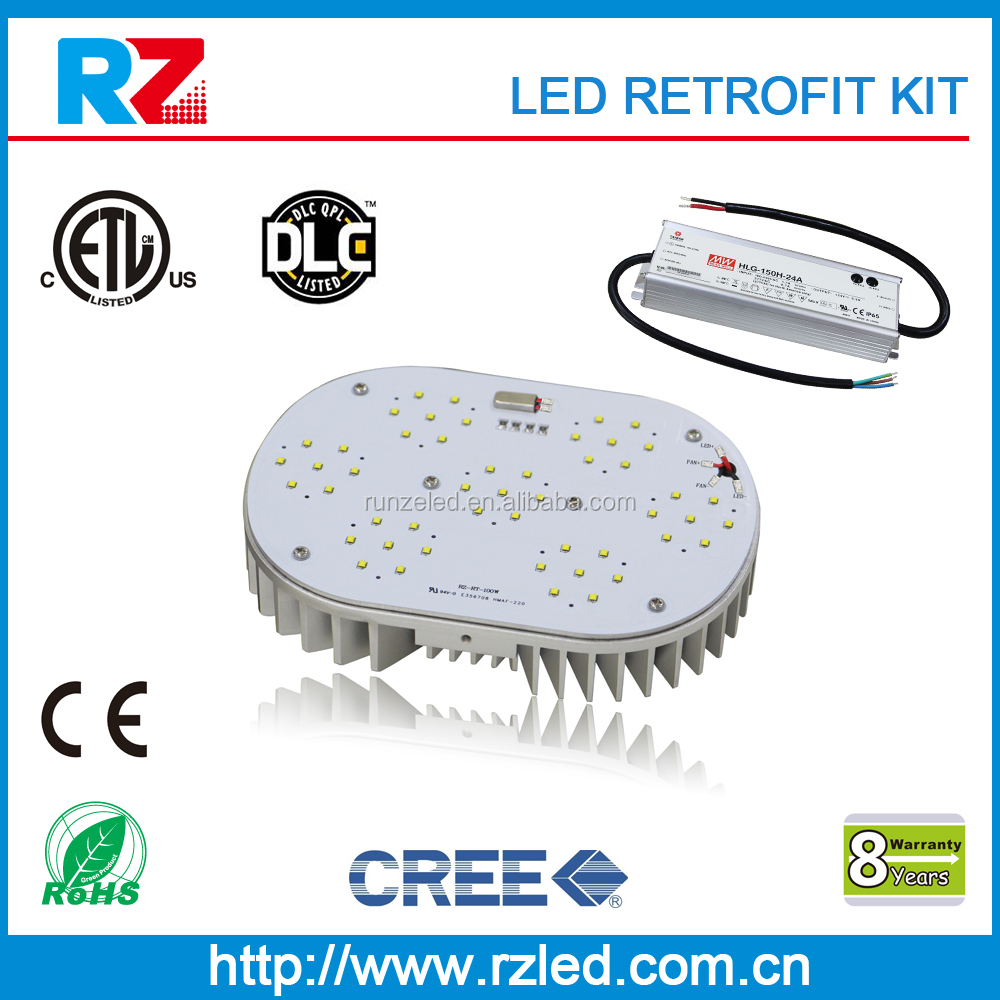 DLC shoebox lighting fixture luminare 8 years warranty metal halide 1000w led replacement, 400w led retrofit kit