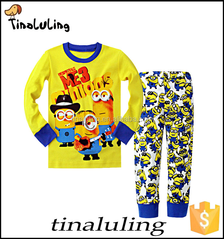 2016 NEW DESPICABLE ME COTTON PIJAMAS 3 MINIONS PYJAMAS