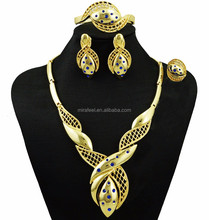 Hot selling artificial set jewellery, african fashion red rhinestones gold plated hot sale 24k jewelry sets for women