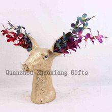 ZH85373 2017 Very New Spring Flower Vase Item Resin Crafts Polyresin Garden Decoration Gifts home vase deer head home decor